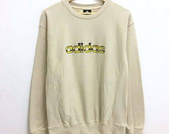 RARE!!! Adidas Block Big Logo Crew Neck Cream Colour Sweatshirts Hip Hop Swag M Size