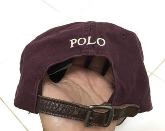 RARE!!! Polo Ralph Lauren Small Pony Cap Hat Leather Adjustable