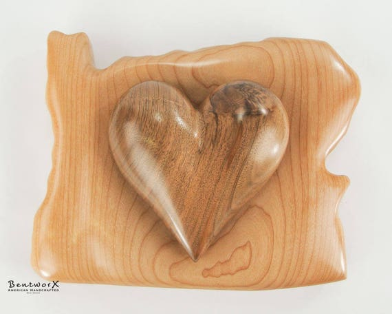"I Love Oregon Hand Carved ""Beautiful"" Black Walnut Heart with Oregon Pacific Big Leaf Maple Holder (2 Pieces) 