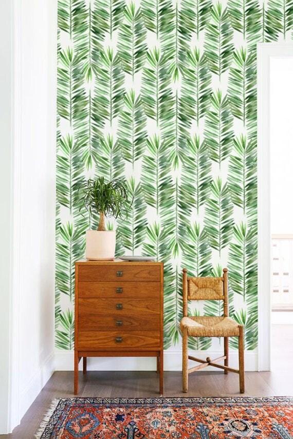 Tree Design Wallpaper Living Room: Palm Tree Wallpaper Palm Leaves Wall Decor Removable
