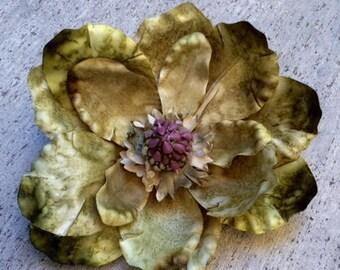 Magnolia, Fascinator, olive green extra large silk flower hair clip
