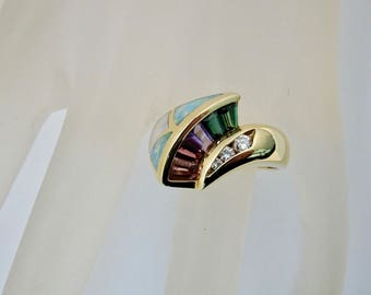 BAGLEY & HOTCHKISS 18K Diamond, Multi-Color Tourmaline, Opal, and Mother of Pearl Ring