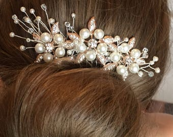 Bridal hair comb/ hairpiece, ivory Pearl/crystal decorative. Wedding hair, headwear,hairpiece, special occasion hair band, hair accessories