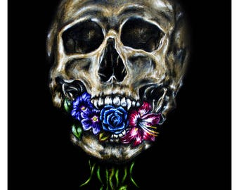 Skull Art Print: dark wall art, skull decor, defense against the dark arts, Skull and flower art,