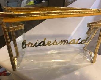 Clear Make up Bag Bridesmaid Maid Matron of Honor Bachelorette Party Custom