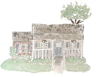 custom home portrait / watercolor home portrait / watercolor home painting