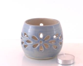 Votive Candle Holder. Wheel thrown Pottery tealight holder. Sky Blue with flower cutouts. Ceramic luminary.