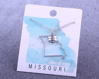 Customizable! State of Mine: Missouri Basketball Silver Necklace - Great Basketball Gift!