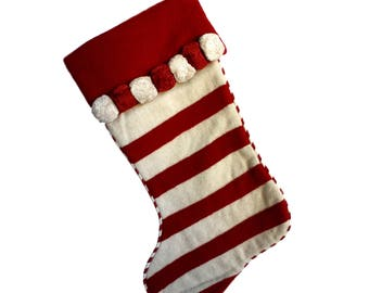 Candy Cane Pom Pom Stocking