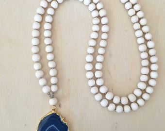 Beaded Agate Necklace, Wood Bead Necklace, Long Beaded Necklace, Boho Necklace, Statement Necklace,  Blue Agate Slice Pendant Necklace