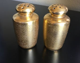 Gold Salt and Pepper Shakers, Picard Gold Salt and Pepper Shakers, Vintage Salt and Pepper Shakers