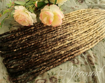 """Double Ended Synthetic Dreads Extension Crochet Dreadlocks """"Black Dark brown Blond Ombre Set"""" Afromod"""