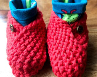 Red Baby Shoes with Teal Green Beetle Print Cuff Hand Knitted Organic Cotton