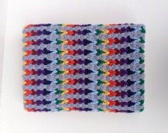Rainbow blanket, cascading rainbow throw, grey and rainbow afghan, rainbow afghan, rainbow laprug - boho baby, crochet baby blanket
