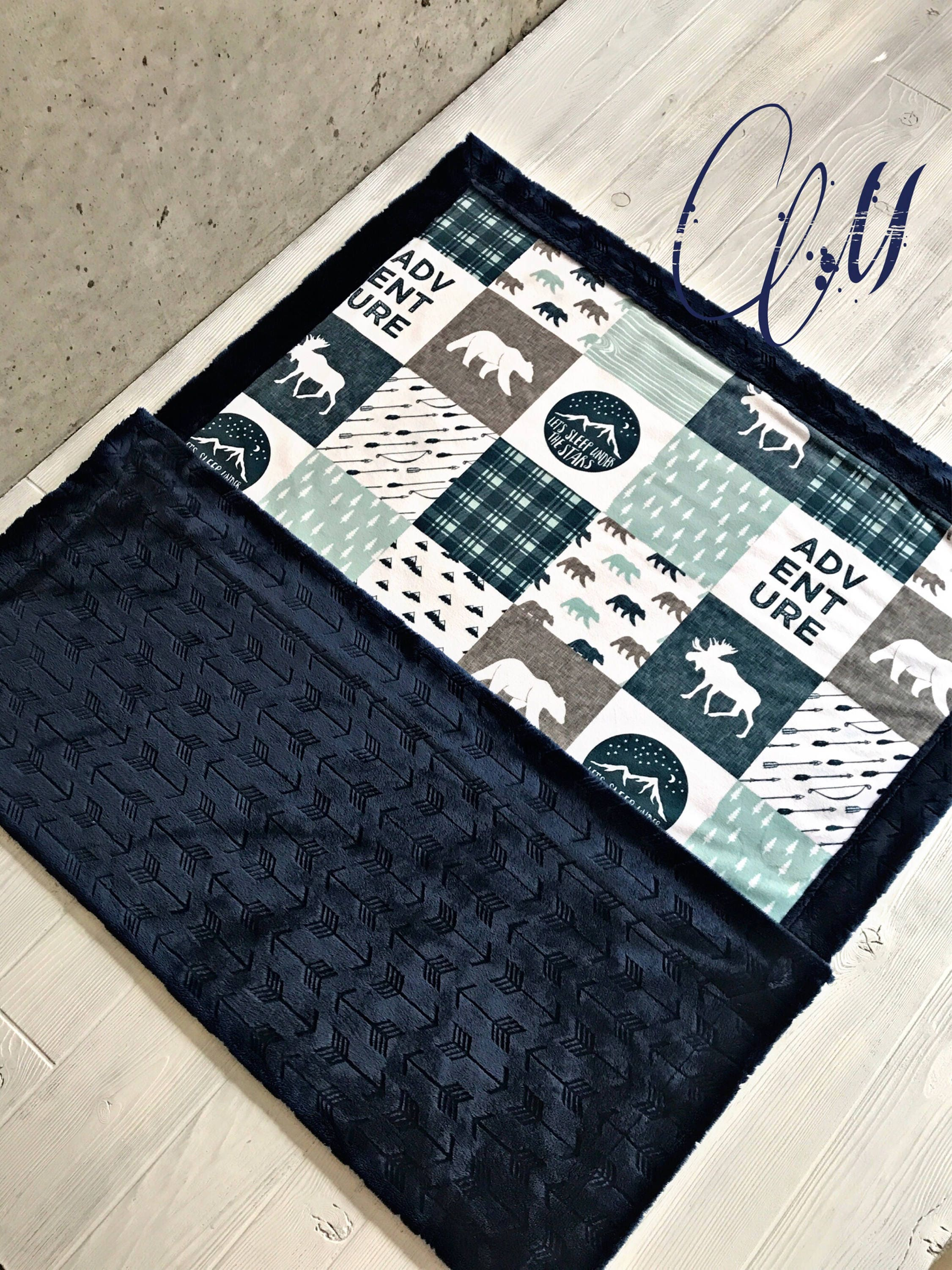 Mountain Minky Baby Blanket Lumberjack Blanket Navy Arrows