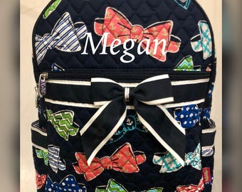 Quilted backpack w/ bow ties / Girls backpack / Gifts for girls