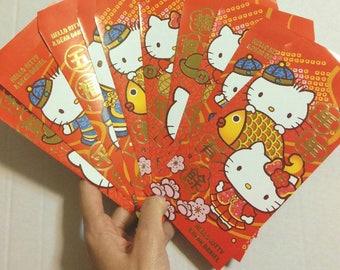 Set of 5 Red Envelope Hello Kitty Envelope Chinese New Year 2018 Red Packet Sanrio Year of the Dog Red Pocket Cute Envelope Kawaii Envelope