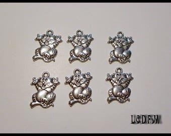 * ¤ 6 silver metal cat charm pendants - 17x12mm ¤ * #PC38