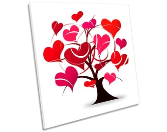 Love Heart Tree Red CANVAS WALL ART Square Print