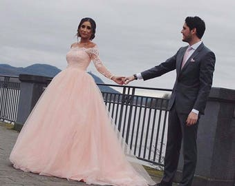 Wedding lace dress with removable train long sleeve lace ball wedding dress powder wedding dress light peach wedding dress long sleeve wedding junglespirit Images