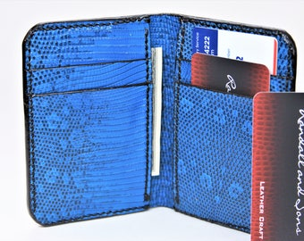 Bifold Wallet Full Genuine Lizard Blue/Black