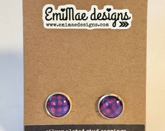 Navy and Pink sparkle grid stud earrings