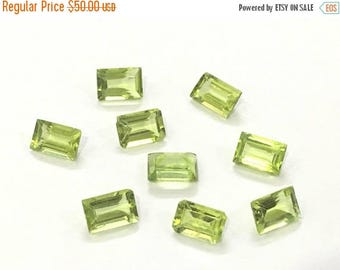 Exclusive Quality Peridot Baugette Cutstones 4x6 mm approx , 7 carets , 9 piece
