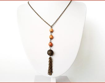 Boho necklace wood beads Woodlace fossil 8 mm bronze metal chain