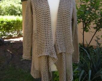 "Sand jacket, Cardigan, crochet jacket, Cardigan ""Marlene"", Gr. 38-42"