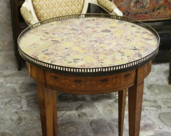 French Antique Side Table 4 Legged Marble Top Wooden Brass Round Table  Coffee Table Vintage End