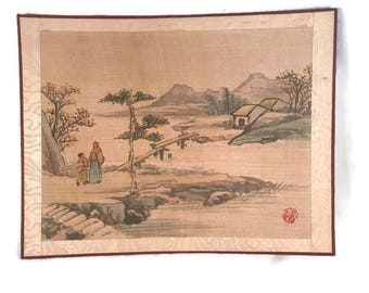 Japanese Painting Hand Painted on Silk Vintage Scenic Landscape Beautiful Mountain Scene with Bridge to Island Village