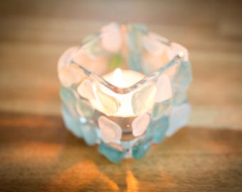 Sea glass tealight candle holder