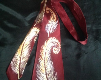 1940s / 50s Vintage Men's Rayon Neck Tie / Cravat Rayon - make - Pilgrim Cravats