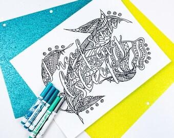 ADULT Language Coloring Page / I Need Some F*cking Sleep Printable Coloring Page / Digital Download / 1 Digital Design