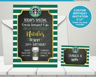 Starbucks party, Starbucks birthday theme, Starbucks birthday invitation, Starbucks theme, Starbucks custom invitation, Starbucks