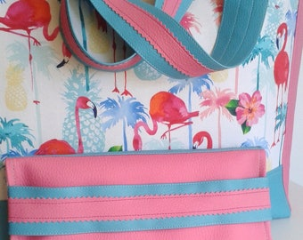 flamingos cover roses and palm trees attached to the XL bag in my shop