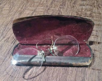 Antique Pince Nez eyeglasses 1900's with case, free shipping