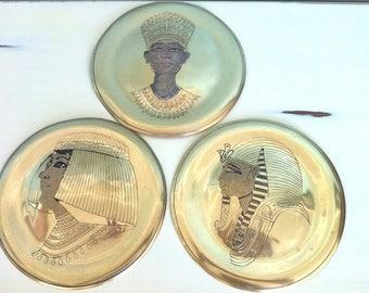 3 Brass Egyptian Wall Plates/Egyptian Wall Decor/Ancient Egypt Decor/Egyptian Plates/Cleopatra/Nefertiti/Egyptian Pharaohs/Ancient Egypt