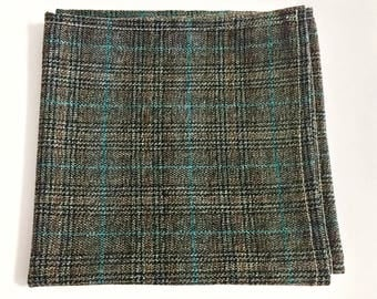 Mens Pocket Square, Brown and Blue Plaid Pattern, wedding accessory, mens handkerchief, Suit Accessory, Plaid Design