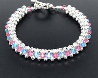 Aquamarine bracelet, Pink Rose bracelet, Swarovski Crystal Bracelet, Silver Bracelet, Gold Bracelet, Woven Bracelet, Beaded Bracelet