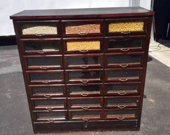Antique 1940' general store bean seed cabinet