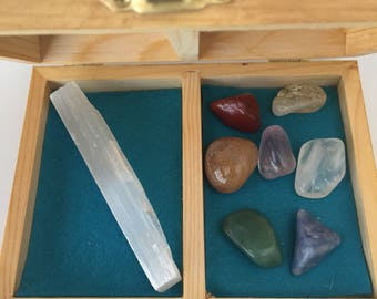Delux Seven chakras kit - chakras stone- selenite stone kit-healing - gem therapy -reiki -meditation- ideal for gift and decor