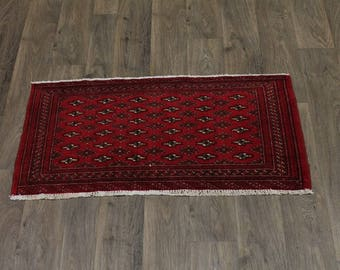 S Antique Handmade Small Size Red Turkoman Persian Rug Oriental Area Carpet 2X4
