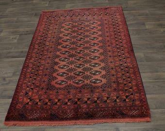 Muted Tribal Antique Foyer Balouch Turkoman Persian Area Rug Oriental Carpet 4X7