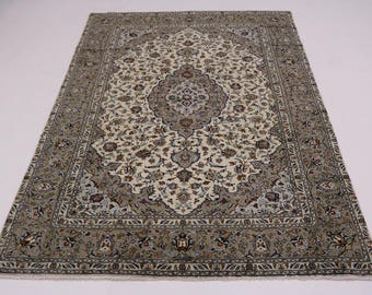 8X12 Elegant Handmade Light Kashan Persian Rug Oriental Area Carpet 7'7X11'6