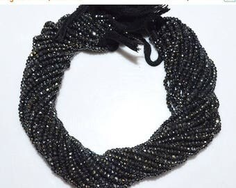 """50% OFF Good Quality Black Spinel AB Coated Rondelle Beads - Black Spinel Coated Faceted Rondelle Beads , 3.25 - 3.50 mm , 13.5"""" - MC866"""