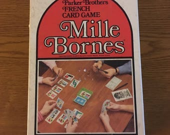 Vintage Mille Bornes Card Game, Complete in Original Box- Parker Brothers French Card Game Mille Bornes