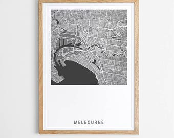 Melbourne Contemporary Map Print - Various Colours / Australia / City Print / Australian Maps / Giclee Print / Poster / Framed