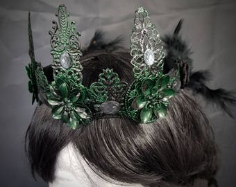 Dark Fairy Crown green and black, crown in green-black with silver-grey cabochons