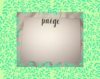 Small Name Lettering Personalized Stationary Notecards- Handmade